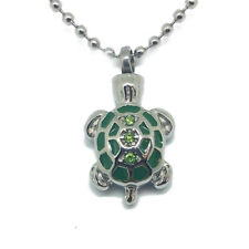 """""""Green Turtle w/ cz"""" Cremation Urn Necklace Jewelry Pendant Love Pet Ash holder"""