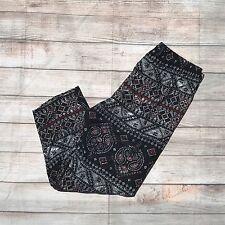 Black White Red Paisley CAPRI Women's Leggings PS Plus Size TC 12-18 Soft as LLR