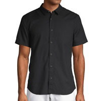 John Varvatos Star USA Men's Short Sleeve Clark Snap Front Solid Shirt Black