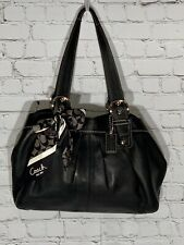 Coach Authentic Black Leather Hamptons Tote Pockets - Dust Bag & Scarf Included!