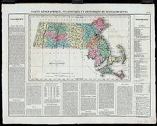 1825 ANTIQUE RARE 19thC French MAP CARTE GÉOGRAPHIQUE...MASSACHUSETTS Buchon