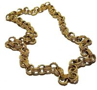SPECTACULAR TEXTURED GOLD TONE CIRCLE LINK VINTAGE NECKLACE 166 GRAMS