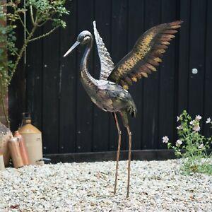 Large Metal Crane - WINGS UP Statue Ornament | Garden Sculpture | Outdoor Bird