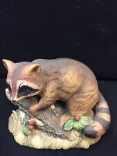 Home Interior Raccoon On A Log Collection Figurine Homco Broke Leaf
