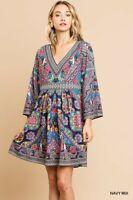 UMGEE Bohemian Scarf Print V-Neck Dress USA Boutique