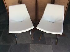 VINTAGE PAIR MODERN WHITE LEATHER CHROME SAPORITI SIDE CHAIRS MAURO LIPPARINI