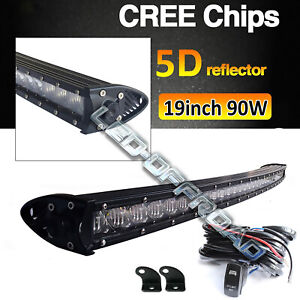 20inch 90W Slim Single Row Spot Flood Off-Road LED Work Light Bar Waterproof 19