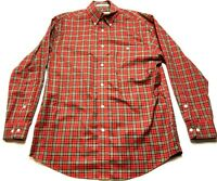 Orvis Mens Red Plaid Front Pocket Button Front Shirt Size Medium