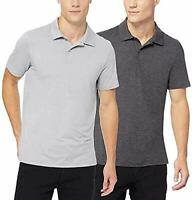 32 DEGREES Men's Polo, 2-Pack (Heather ICY Grey/Black Space Dye, X-Large)