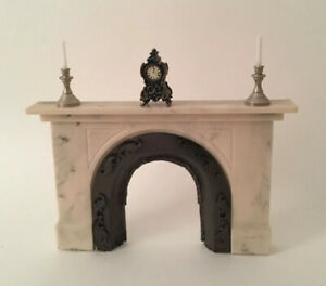 Dolls House Resin Fireplace With Accessories