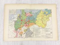 1881 Antique Military Map of The Formation of the Prussian Empire Battle War