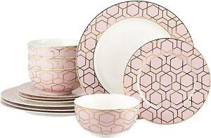 12 Piece Tallulah Pink & Gold Dinner Set