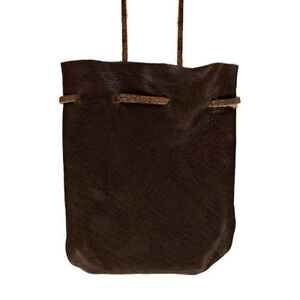 """NEW Dark Brown Leather Mojo Bag 3"""" Medicine Pouch Drawstring Spell Necklace"""