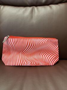NEW Clinique Cosmetic Bag Makeup Zip Logo – red & pink leopard