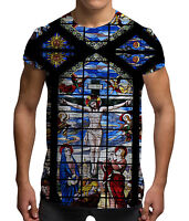 Stained Glass Jesus All Over Print Summer Holiday Festival fashion Mens T Shirt