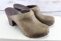 Dansko Studded Stapled Clogs Heels Slides Brown Leather 10 Women's Shoes