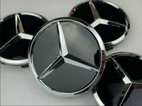 4pcs x 60mm MERCEDES BENZ Black Alloy Wheel Centre Caps Hub Badges