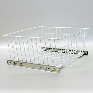 Wardrobe Pull Out Wire Baskets In White. Sizes 400,500 And 600 Buy Now