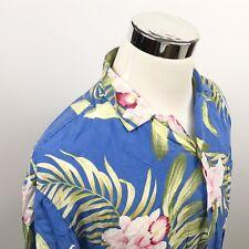 Paradise Found Mens Large Vintage Hawaiian Aloha Shirt Pink Blue Floral Palms