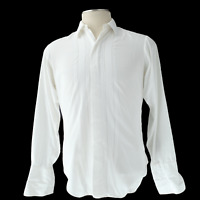 Vintage Christan Dior White Embroidered Button Down Shirt French Cuff Size 15X33