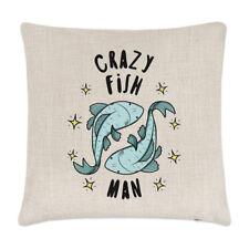Crazy Fish Man Stars Linen Cushion Cover Pillow - Funny Animal