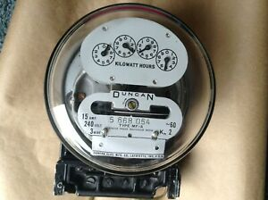 Vintage Duncan single phase watthour meter 15A 240V 3 wire Type MF-A circa 1949