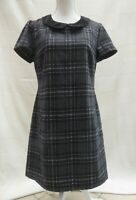 Peacocks grey/multi check blanket style short sleeve lined dress Size 14