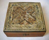 Turkish Carved Inlay Wood Trinket Desk Jewelry Cigar Box Vintage Lined Hinged