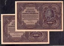 Polonia: stato POLACCO PRESTITO BANCA, 4 x 1,000 Marek, 23-8-1919, inc... consecutivi.