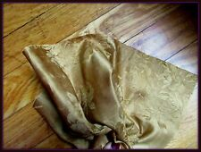 ANTIQUE VICTORIAN FRENCH SILK DAMASK ROSES GOLD GOWN FABRIC FRAGMENT