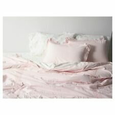 SIMPLY SHABBY CHIC King Comforter Shams Set CROCHET EDGE Linen Cotton NWT