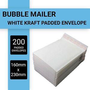 200x Bubble Mailer 160x230mm Padded Envelope White Kraft Paper Plain Bag