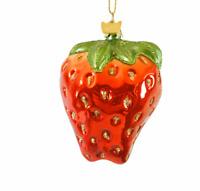 Kurt Adler Noble Gems Strawberry Glass Ornament Christmas Fruit Food Red Hanging