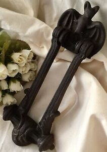 Kenrick & Son Bat Old cast iron door knocker ornate Heavy Vintage Found France