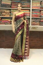 INDIAN ETHNIC BANARASI GREY SAREE KANJIVARAM SILK SARI BRIDAL PARTY WEAR DRESS