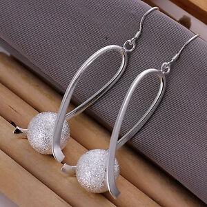 Silver Plated  Ball Earrings Dangle Drop Loop Dangly.45mm by 28mm.925 Sterling