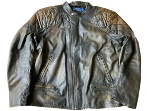 POLO BY RALPH LAUREN COWHIDE LEATHER BIKER JACKET CAFE RACER RRP £1095 DAMAGED