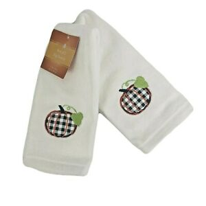 Farmhouse Decorative Guest Hand Tip Towels Set of 2 Pumpkin Embroidered Design
