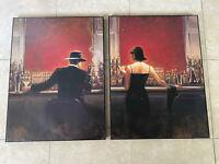 "Art Repro Set of 2 Brent Lynch Oil Painting Print On Canvas Cigar Bar 24x32""each"