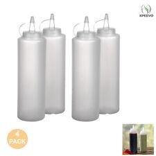 4 Clear Plastic Squeeze Bottle Condiment Dispenser Ketchup Mustard Sauce 12 Oz