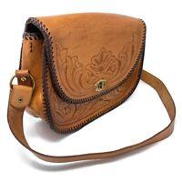 VTG 1970s Leone Handmade Western Tooled Leather Mexico Saddle Bag Purse