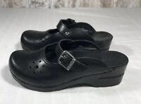 Dansko Merrie Leather Mary Jane Slip On Black Clog Sz 37 6.5 - 7 Comfort Shoes