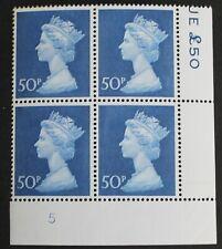 GB – 50p Blue – Plate Block of 4 – Plate 5 – PO Paper - UM (MNH) (R5)
