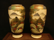 "7"" H MARKED Satsuma JAPANESE TAISHO PERIOD SATSUMA MIRROR PAIR VASE"