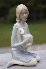 Vintage Glazed Japan Young Lady Girl Figure Figurine Holding a Deer