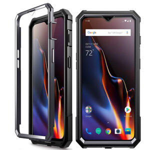 For OnePlus 6T Case Rugged Shockproof Phone Cover w/Screen Protector Black
