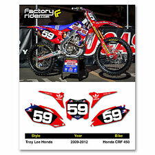2009-2012 HONDA CRF 450 TLD Dirt Bike Graphics Motocross Custom Number Plates