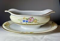 VTG c1921 Noritake Japan Wildfleur Gravy Boat & Attached Underplate Floral MINT