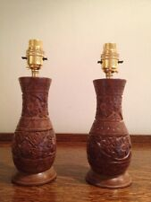 PAIR Unique Hand Carved Solid Wood Table Lamps Lovely Floral Detail H9""