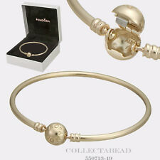 "Authentic Pandora 14K Gold Bangle with Signature Clasp Size 8.3"" 21cm  550713-21"